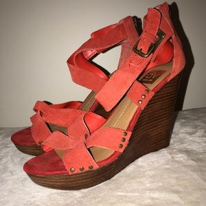 WORN ONCE Red Wedge Strappy Heels